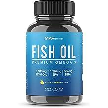 Premium Fish Oil Omega 3 - Max Potency - 3,600mg + 1,296mg Epa + 864mg DHA + Immune Support + Heart & Brain Health + Joint & Skin Support + Burpless + Natural Lemon Flavor, 120 Capsules