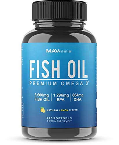 Fish Oil Omega 3 with 864mg DHA + 1,296mg EPA at Max Potency 3,600mg Omega 3 Fish Oil for Heart and Brain Health Support; Burpless + Natural Flavor; Non-GMO, 120 Capsules ()