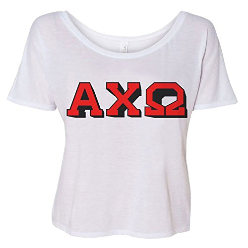 - Alpha Chi Omega 3D Block Letter Slouchy Tee 2X-Large White