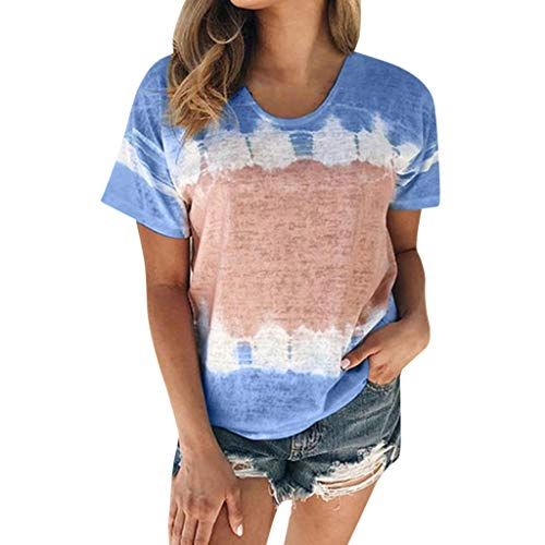Cewtolkar Summer Tops for Women Casual Short Sleeve Blouse Colorful O Neck T-Shirts Loose Tunic Tee Blouse Blue