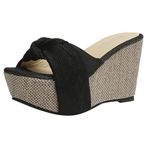 Minisoya Women Casual Wedge Summer Slip-On High Heel Platform Peep Toe Shoes Bow Sandals - Black Pu Bow Platform