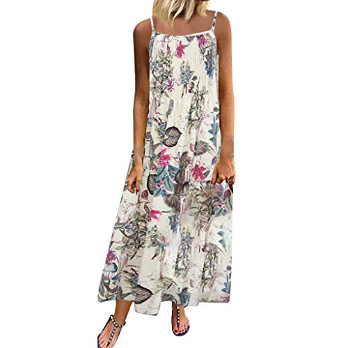 Zlolia Women's Floral Print Bohemian Ethnic Style Dress Strap Deep V Open Back Straight Dress Summer Beach Midi Skirt Pink