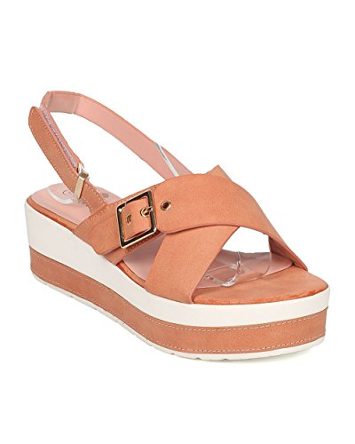 Nature Breeze Women Leatherette Platform Wedge Sandal - Two Tone Wedge - Slingback Heel Sandal - GH62 by Mauve (Size: 8.0) (Breeze Events)