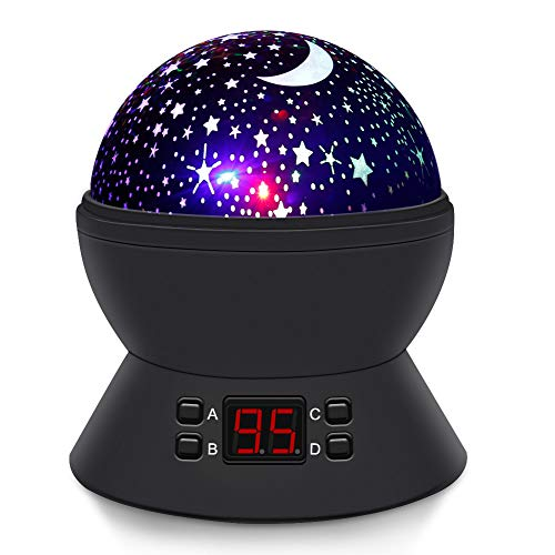 ([Upgrade] MOKOQI Modern Rotating Moon Sky Projection LED Night Lights Toys Table Lamps with Timer Shut Off & Color Changing for Baby Girls Boys Bedroom Christmas Gift Baby Nursery Lights (Black))