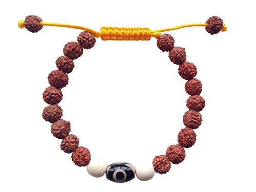 Hands of tibet Tibetan Mala Rudraksha Wrist Mala/ Bracelet for Meditation (Two eye Dzi Bead)