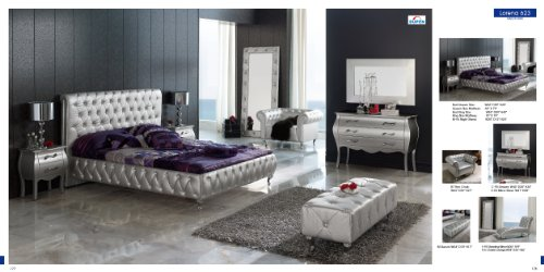 ESF Lorena Silver Fabric & Lacquer Queen Size Platform Bedroom Set by (ESF) European Style Furniture