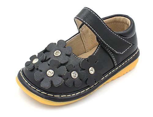 Squeaky Shoes | Black Crystal Flowers Mary Jane Toddler Girl Shoes | Premium Quality (Removable Squeakers) (5) - Baby Girl Squeaker Shoes