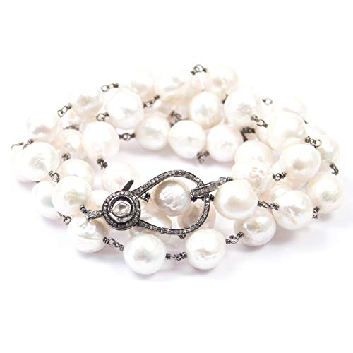 Large White Baroque Pearl & Art Deco Diamond Clasp Sterling Necklace - 36 Inches Long Handmade Double Wrap Necklace by Miller Mae Designs