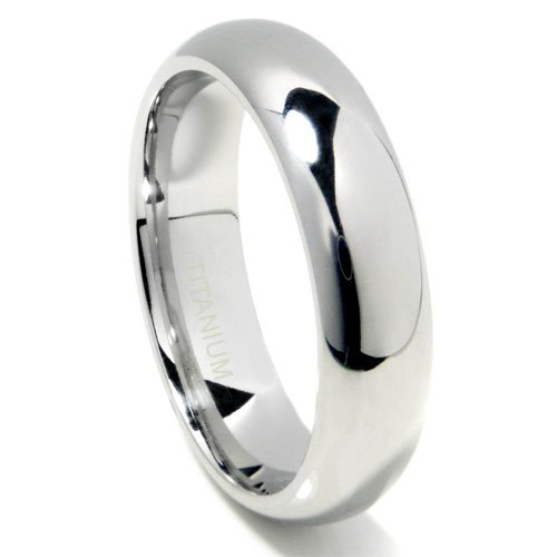 Titanium 6mm High Polish Plain Dome Wedding Band Ring w/ FREE gift box Sz 8.5 (Dome Titanium Band)