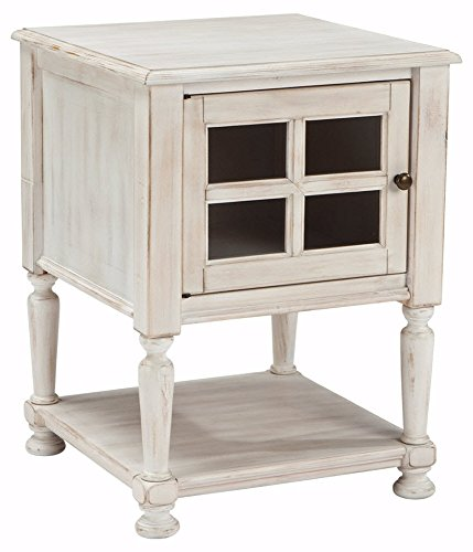 Signature Design by Ashley T505-102 Chair Side Table, Chipped White (Nightstand Glass Door)