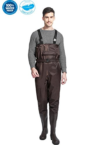 Cleated Fishing Hunting Waders for Men with Boots 2-Ply Nylon/PVC Waterproof Bootfoot Chest Wader Brown 8-13 (Brown, 8) (Nylon Neoprene Wader Chest)