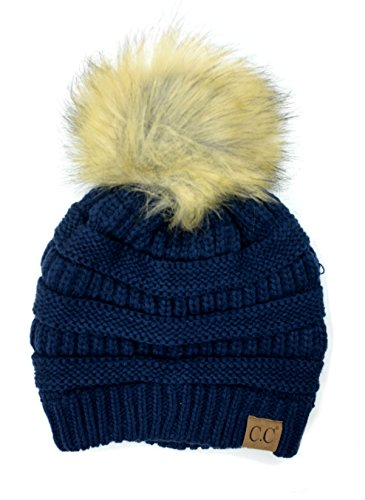Plum Feathers Soft Stretch Cable Knit Ribbed Faux Fur Pom Pom Beanie Hat (Navy) (Plum Navy)