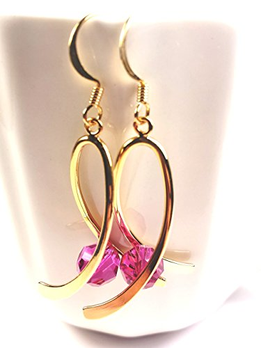 Swarovski Gold Ribbon - Breast cancer awareness earrings. Pink and gold ribbon earrings. Swarovski crystal earrings.