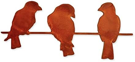 Elizabeth Keith Designs Metal Three Birds On A Wire Wall Decor Rust Color, 19 Inches Long