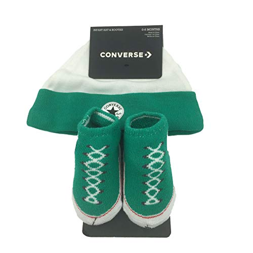 (Converse Baby Hat and Booties Set (Green(LC0005-F1H)/White, 0-6 Months) )