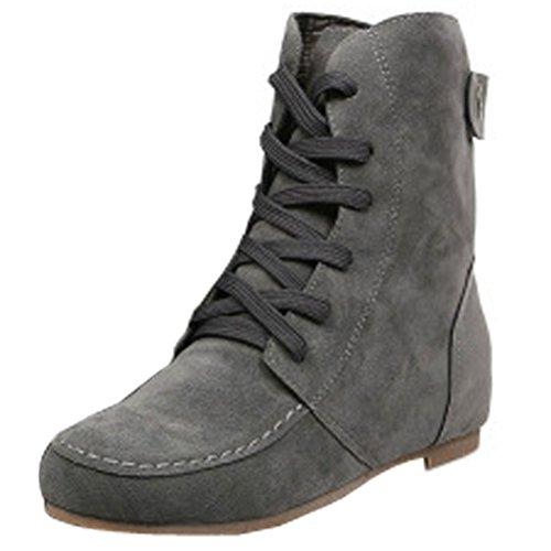 Donalworld Women Ancke Round Toe Flat Manmade Leather Martin Boots Grey US 8