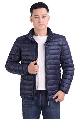 Bozevon Addensare Reale Inverno Uomo Manica Cotone Con Giacca Colletto Caldo Coreana Cerniera Blu In Giù Alla Lunga raHwqO7Urx
