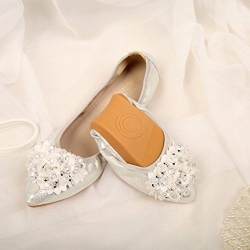 children's Donyyyy dancing ballet women's leisure code Silver 2018 girls' 41 45 Beaded Flowers big code shoes small shoes shoes size shoes Forty Big new training four 0frzY0w