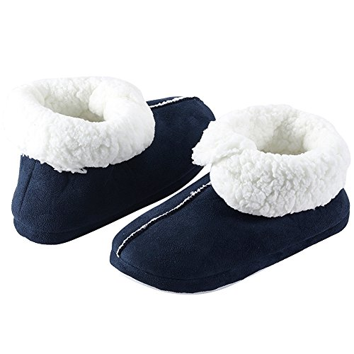 SITAILE Women House Slippers Fleece Lined Memory Foam Indoor Home Slip on Slippers Boots Navy Blue 1v6ys