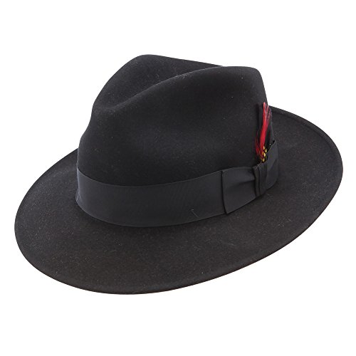 Stetson and Dobbs TWGURN-5324 Men's Gurnee Dress Hat, Black - 7 1/4