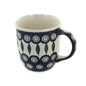 Blue Rose Polish Pottery Peacock Plain Mug