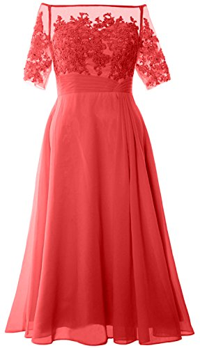 MACloth Women Off Shoulder Mother of Bride Dress Tea Length Formal Evening Gown Watermelon
