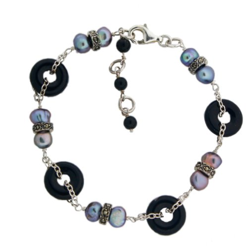 Black Onyx, Marcasite, Potato Freshwater Cultured Peacock Pearl, Sterling Silver Chain, 7 1/4 Inch bracelet with 1 1/2 Inch Extension (Marcasite Strand Multi)