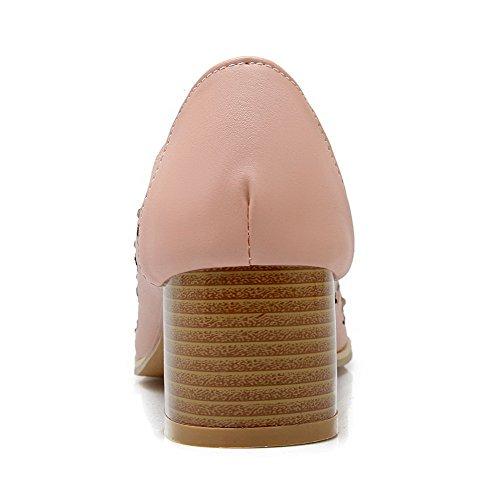 Chiodato Luccichio Tacco Scarpe Punta A Odomolor Ballerine Rosa Medio Donna I70qwwCY
