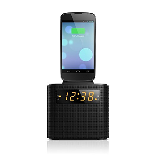 Philips AJ3200 Black Universal Charging Clock Radio including micro USB and iPhone lightning cable