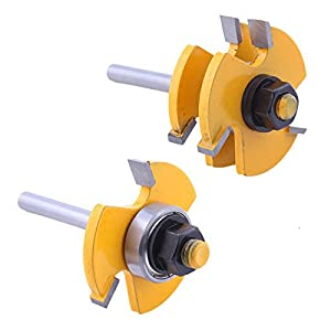 """NEW Woodworking Tool Tongue & Groove Router Bit Set 3/4"""" Stock 1/4"""" Shank 2pcs"""
