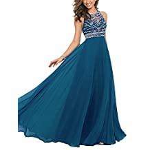 Women Girls Chiffon Jeweled Bridesmaid Evening Party Prom Ball Gown Dress US14