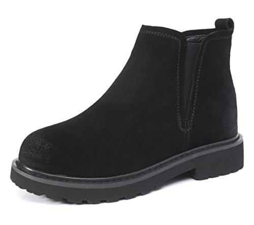 KUKI fall women boots Martin boots ladies single boots flat vintage women boots light breathable casual shoes cheap women boots Black CjEuR