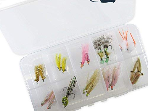 RiverBum Bonefish Flies Assortment Kit with Fly Box, Shrimp, Scampi, Bone Crusher, Crazy Charlie for Bonefish - 20 - Flies Bonefish