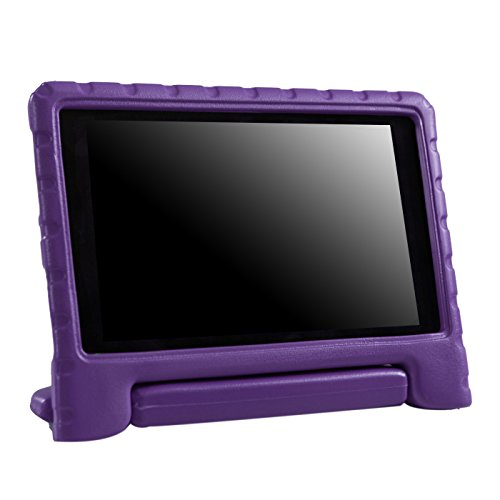 HDE Case for All-New Fire HD 8 Tablet (7th Generation and 8th Generation, 2017 and 2018 Release) Kids Shock Proof Convertible Handle Light Weight Protective Stand Cover (Purple)