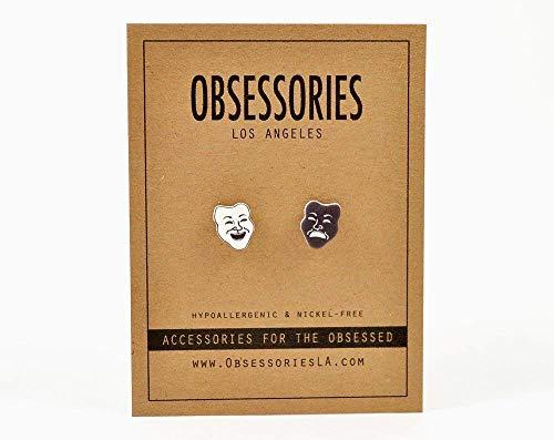 (Handmade Theatre Drama Comedy & Tragedy Mask Stud Earrings)
