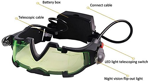 amazoncom floureon jyw 1312 outdoor help night vision goggles glasses with flip out led light camera photo