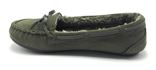 Shoes Moccasin Winter Warm Classic Slip Wells9985 on Lining Comfortable Olive Fur Women Flat xYqvw5wS