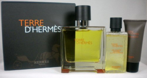 Terre D'Hermes by Hermes Travel Set for Men. Pure Perfume Spray 2.5 oz. + Shower Gel 1.35 oz. + After-shave Balm 0.5 oz. by Hermes