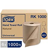 Tork Universal RK1000 Hardwound Paper Roll Towel, 1-Ply, 7.87' Width x 1000' Length, Natural (Case of 6 Rolls, 1000 Per Roll, 6,000 Feet)