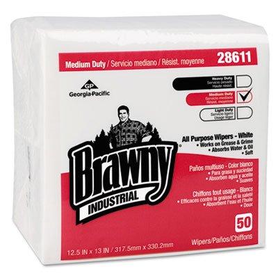 Brawny Industrial Airlaid Medium Duty Folded Wipers, 1/4-Fold, 12-1/2x13, 50/pk