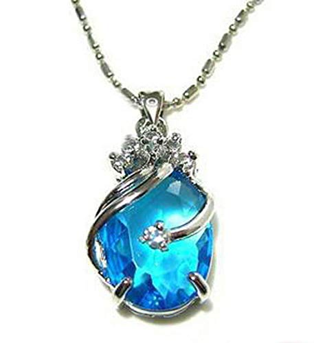 (Sky-Blue Cubic Zirconia Sapphire White Gold Plated Crystal Pendant Necklace )