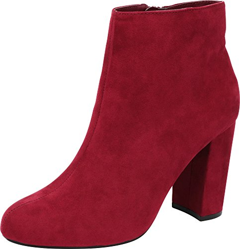 Cambridge Select Women's Closed Round Toe Chunky Stacked Wrapped Block Heel Ankle Bootie,10 B(M) US,Vino IMSU