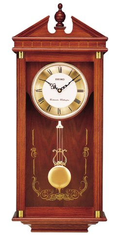 Seiko Wall Pendulum Clock Dark Brown Solid Oak Case