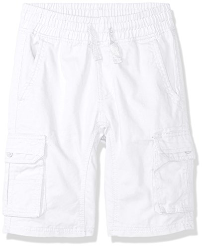 (Southpole Boys' Big' Twill Cargo Jogger Shorts in Basic Solid Colors, White, Large)