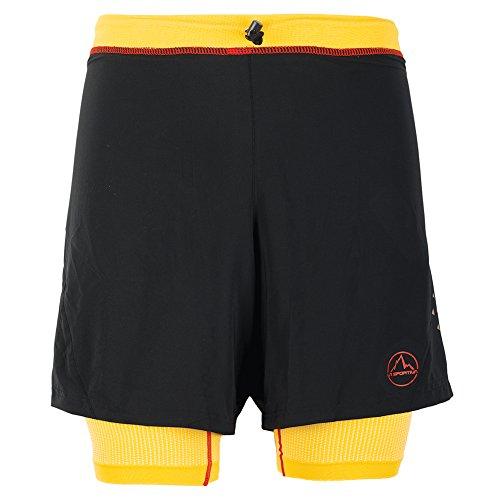 La Sportiva Men's Rapid Running Short – Running Shorts for Men with Liner, Black/Yellow, Medium by La Sportiva