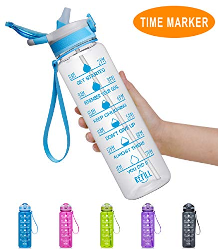 Fidus 32oz Leakproof Tritran BPA Free Water Bottle with Motivational Time Marker & Straw to Ensure You Drink Enough Water Daily for Fitness, Gym and Outdoor Sports-Transparent Blue