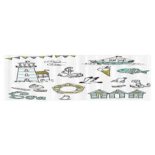 (Philip C. Williams Fish Tank Background Marine Elements with Fish Lighthouse Anchor Vessel Swimsuit Gulls Lifebuoy Wallpaper Fish Tank Backdrop Static Cling 29.5