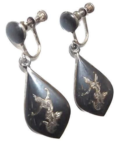- Pair Vintage Sterling Silver Screw Back Earrings Niello Dancer Goddess Damascene