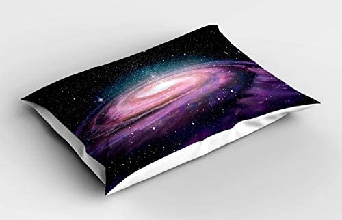 ABAKUHAUS heelal Siersloop voor Kussen Galaxy in Outer Space Decoratief Standaard Maat Bedrukte Kussensloop 80 cm x 40 cm mauve Black