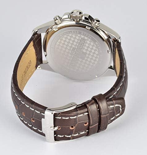 Jacques Lemans Homme Chronographe Quartz Montre avec Bracelet en Cuir 1-1830B